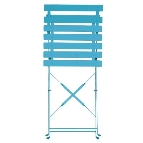 Bolero Pavement Style Steel Chairs Seaside Blue (Pack of 2) - GK982
